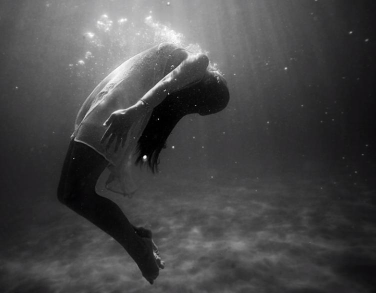 Girl floating in water